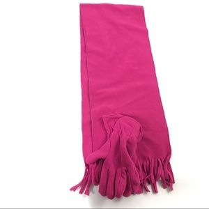 New Women Scarf Gloves 2 Pcs Pink Fringed One Dize